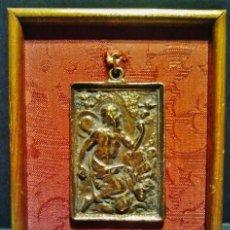 Antigüedades: ANTIGUA PLACA DEVOCIONAL DE BRONCE DE SAN JERÓNIMO. S. XVII.. Lote 41329945