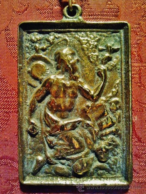 Antigüedades: Antigua placa devocional de bronce de San Jerónimo. S. XVII. - Foto 2 - 41329945