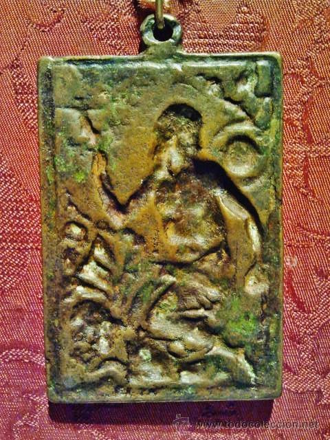 Antigüedades: Antigua placa devocional de bronce de San Jerónimo. S. XVII. - Foto 3 - 41329945