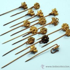 Antigüedades: LOTE AGUJA AGUJAS SOMBRERO METAL Y BRONCE PP S XX. Lote 41333586