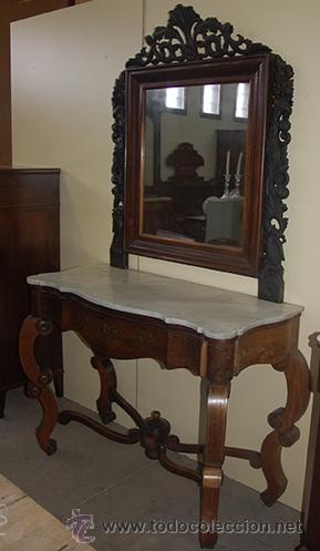 BONITA CONSOLA ISABELINA - FINAS TALLAS EN MADERA DE JACARANDÁ - MARQUETERÍA - S. XIX (Antigüedades - Muebles Antiguos - Consolas Antiguas)