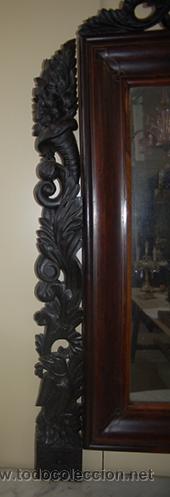 Antigüedades: Bonita Consola Isabelina - Finas Tallas en Madera de Jacarandá - Marquetería - S. XIX - Foto 2 - 41334976