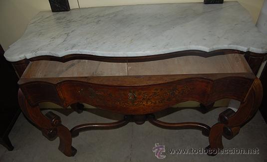 Antigüedades: Bonita Consola Isabelina - Finas Tallas en Madera de Jacarandá - Marquetería - S. XIX - Foto 4 - 41334976