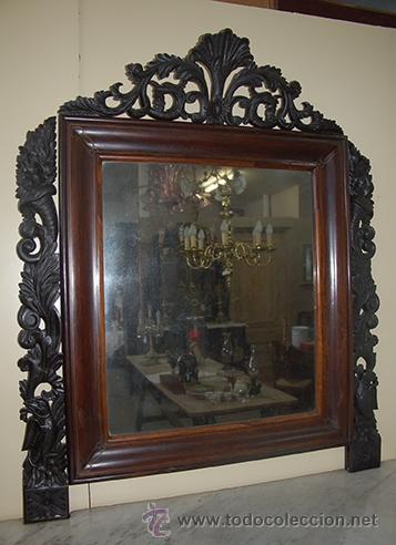 Antigüedades: Bonita Consola Isabelina - Finas Tallas en Madera de Jacarandá - Marquetería - S. XIX - Foto 9 - 41334976