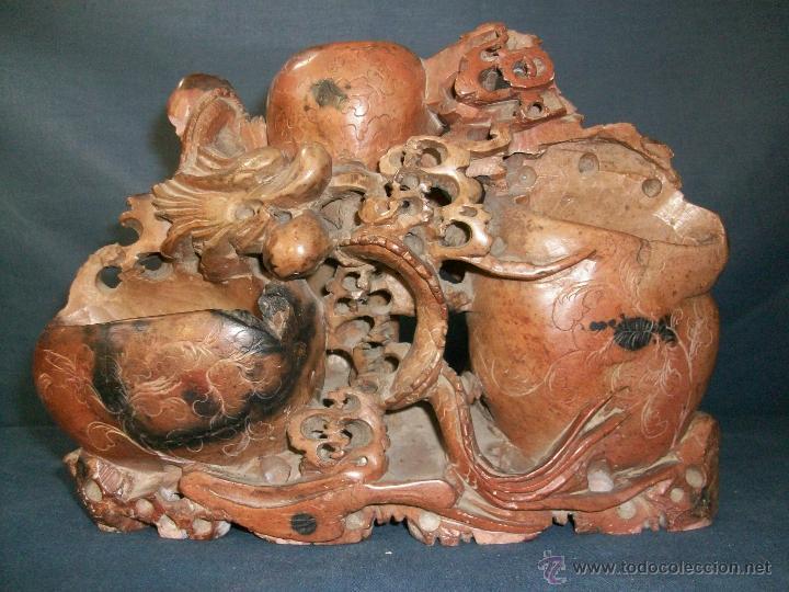 FIGURA TALLADA EN PIEDRA O MARMOL - 23X16X6 CM (Antigüedades - Hogar y Decoración - Figuras Antiguas)