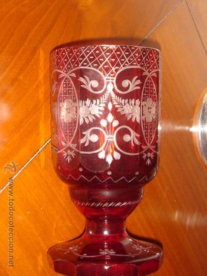 COPA O JARRÓN EN CRISTAL DE BOHEMIA ROJO RUBÍ TALLADO - SIGLO XIX (Antigüedades - Cristal y Vidrio - Bohemia)