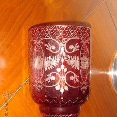 Antigüedades: COPA O JARRÓN EN CRISTAL DE BOHEMIA ROJO RUBÍ TALLADO - SIGLO XIX. Lote 30501859