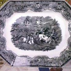 Antigüedades: ANTIGUA BANDEJA DE CARTAGENA, ESCENA LA CAZA DEL TORO, SELLO INCISO Y TINTA. Lote 41358562