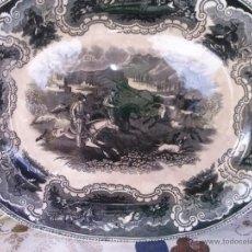 Antigüedades: ANTIGUA BANDEJA DE CARTAGENA OVALADA, CAZA DEL TORO , SELLO INCISO Y TINTA.. Lote 41359005