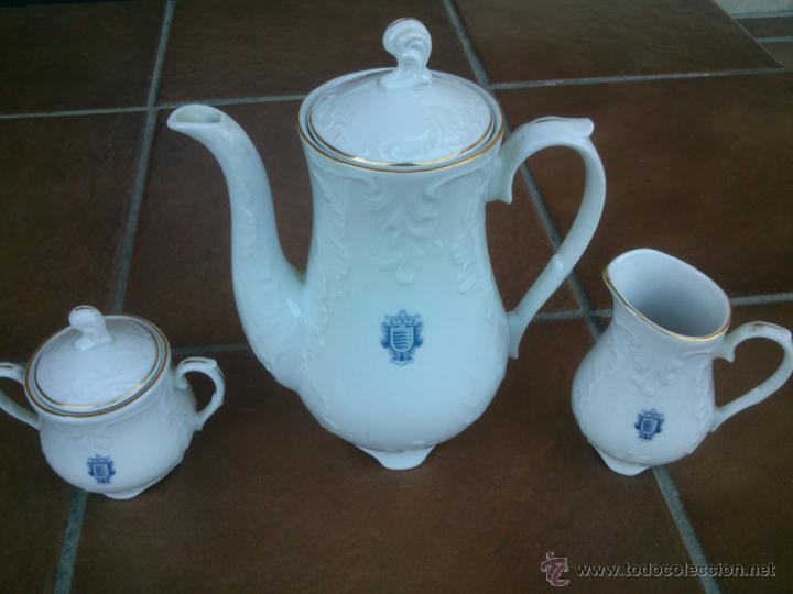 JUEGO CAFE BAVARIAN PORZELLAN KÖNIGLICHES. ERIKA. HAND PAINTED. (Antigüedades - Porcelana y Cerámica - Alemana - Meissen)