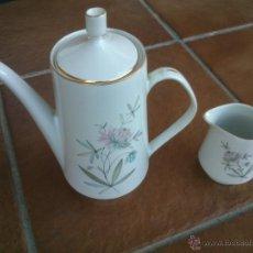 Antigüedades: JUEGO CAFE PINTADO A MANO FILO DE ORO. EXCELENTE. Lote 41375785
