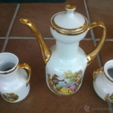 Antigüedades: JUEGO CAFE PORCELANA PINTADO A MANO FILO DE ORO. EXCELENTE. Lote 41376140
