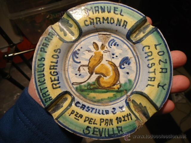 ANTIGUO CENICERO CERAMICA ARTISTICA MENSAQUE RODRIGUEZ CERAMICA SEVILLA TRIANA , (Antigüedades - Porcelanas y Cerámicas - Triana)