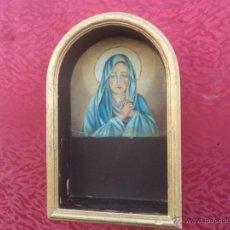 Antigüedades: REPISA ORATORIO CON PINTURA DE VIRGEN AL OLEO. Lote 41385776