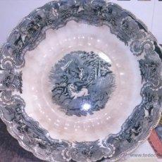 Antigüedades: ANTIGUA FUENTE O ENSALADERA DE CARTAGENA AGALLONADA, ESCENA LEON. SELLO INCISO Y TINTA.. Lote 41393108