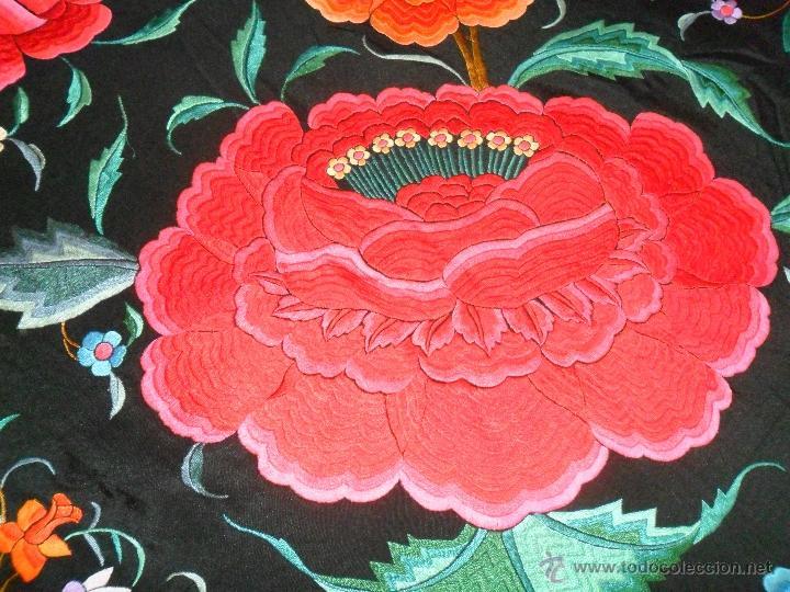 Antigüedades: MANTON DE MANILA ORIGINAL GRANDE PARA COLA DE PIANO - Foto 5 - 41398562