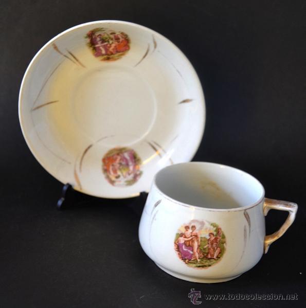 ANTIGUA TAZA DE COLECCION ESCENA MITOLOGICA * ISABELINA (Antigüedades - Porcelanas y Cerámicas - Otras)