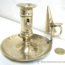 Antigüedades: ANTIGUO Y COMPLETO CANDELABRO PALMATORIA DE BRONCE. Lote 41408408