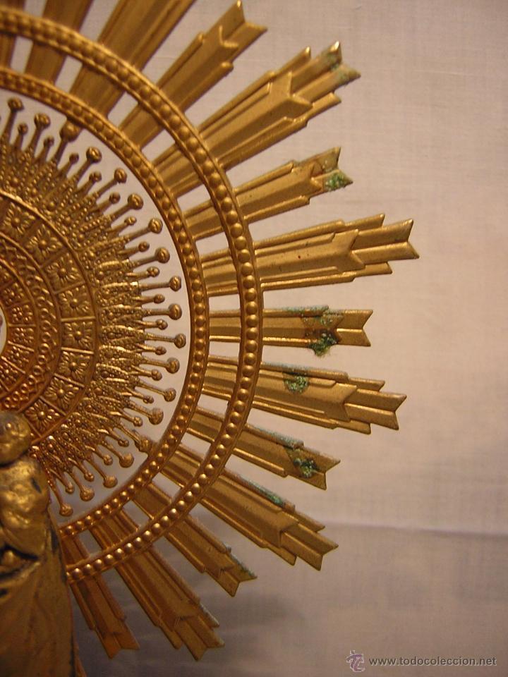 Antigüedades: FIGURA METALICA DE LA VIRGEN DEL PILAR - PEANA DE MÁRMOL - 30CM - Foto 6 - 188451702