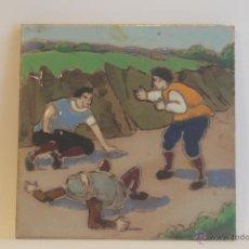 Antigüedades: AZULEJO ANTIGUO DEL QUIJOTE HECHO A LA CUERDA SECA. Lote 41414328