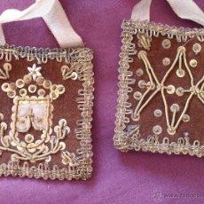 Antigüedades: ESCAPULARIO CARMELITA BORDADO. Lote 41431510