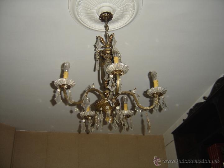 Antigua lampara de techo bronce y cristal 5 b comprar - Lamparas cristal antiguas ...