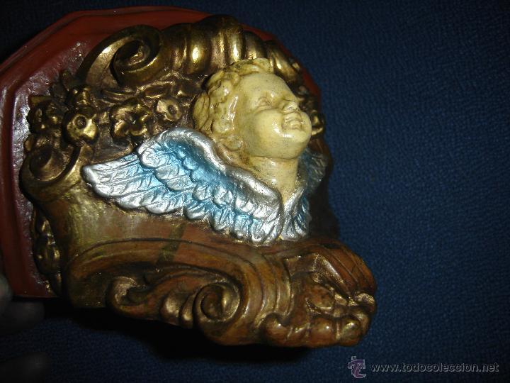 Antigüedades: MENSULA DE ESTUCO PARA FIGURA RELIGIOSA. SIGLO XIX. POLICROMADA. - Foto 5 - 41444531
