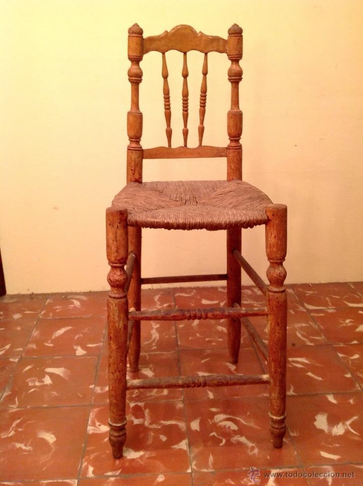 Antigüedades: Antigua Trona Silla De Madera Muy Decorativa - Foto 2 - 41491192