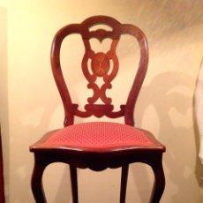 Antigüedades: PAREJA DE SILLAS ESTILO ISABELINO. Lote 41491670
