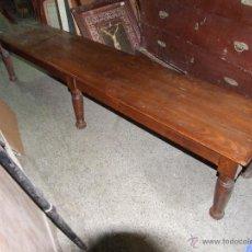Antigüedades: BANCO RUSTICO DE PINO RESTAURADO. Lote 96247863