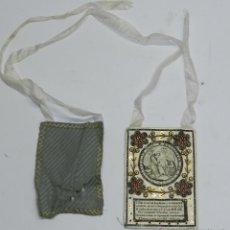 Antigüedades: ESCAPULARIO DE FRANCISCO DE ASIS - SIGLO XVIII O XIX - BORDADO CON HILO DE ORO LENTEJUELA - TIENE UN. Lote 41503033