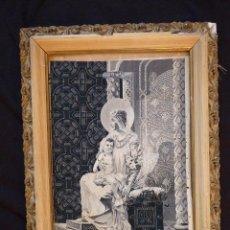 Antigüedades: BORDADO EN SEDA MUY FINO EN TONOS GRISES, VIRGEN MARIA. Lote 41507659