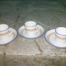 Antigüedades: JUEGO DE 3 TAZAS Y TRES PLATOS DE CAFE, SELLADO, OPAQUE SARREGUEMINES. Lote 41508812