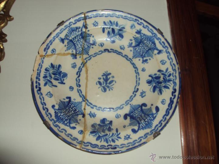 ANTIQUISIMO PLATO CERAMICA DE MANISES PINTADO A MANO- 30 CM (Antigüedades - Porcelanas y Cerámicas - Manises)