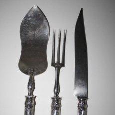Antigüedades: SET DE SERVIR EN PLATA DE LEY, FINALES S. XIX, DEL PLATERO FRANCÉS J.B. VEYRIER. Lote 41525762