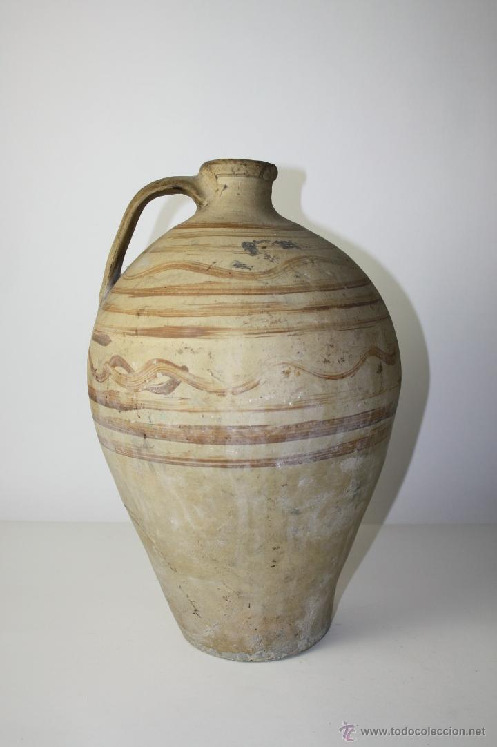 CÁNTARO EN CERÁMICA CON DECORACIÓN PINTADA A MANO, Pº S. XX, 43 CM. ALTO APROX. (Antigüedades - Porcelanas y Cerámicas - Catalana)
