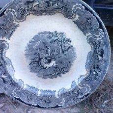 Antigüedades: ANTIGUA FUENTE O PLATO DE CARTAGENA, ESCENA DEL LEON, SELLO INCISO Y TINTA. Lote 41589888