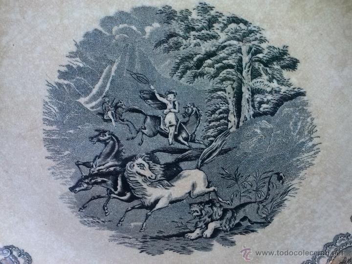 Antigüedades: antigua fuente o plato de cartagena, escena del leon, sello inciso y tinta. - Foto 2 - 41590818