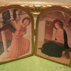 Antigüedades: RETABLILLO EN MADERA POLICROMADA - LA ANUNCIACIÓN DE SAN MARCO EN FLORENCIA - FRAY ANGELICO 1440. Lote 41614977