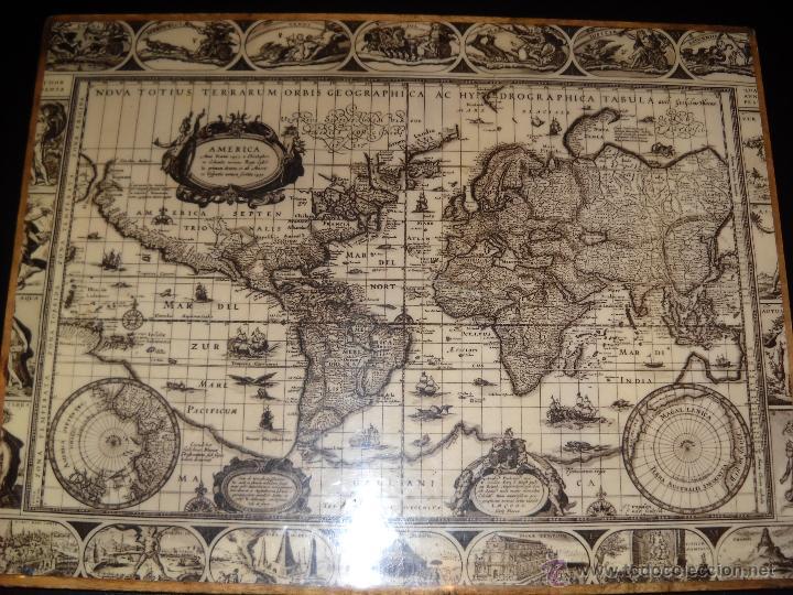 madera con mapamundi antiguo  Comprar en todocoleccion  41646876