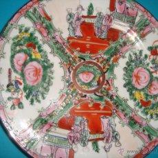 Antigüedades: PLATO DE PORCELANA CHINA CON DECORACION FLORAL Y ESCENA COSTUMBRISTA 20 CM. Lote 41676239