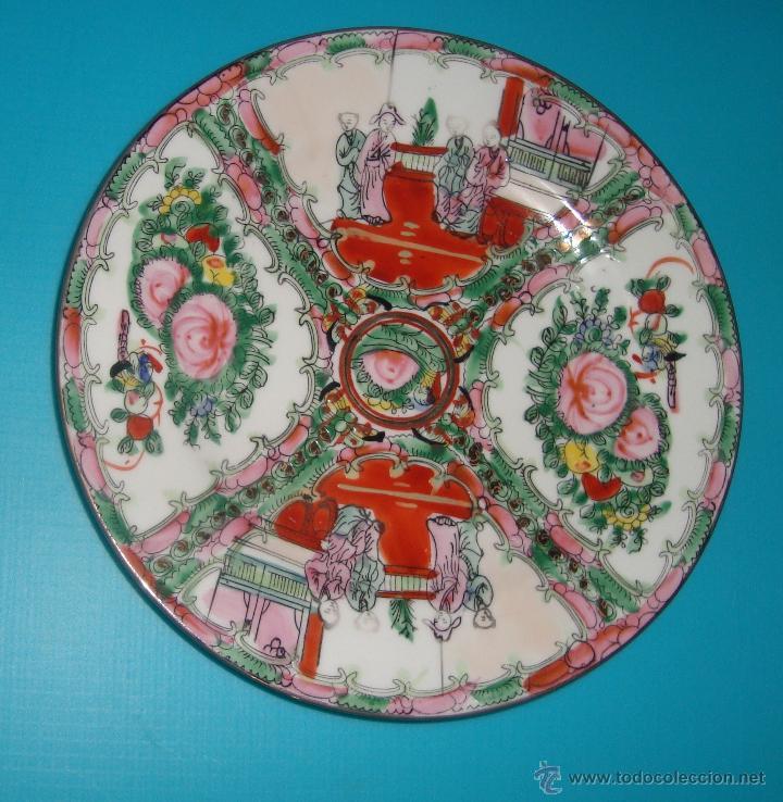 Antigüedades: PLATO DE PORCELANA CHINA CON DECORACION FLORAL Y ESCENA COSTUMBRISTA 20 CM - Foto 2 - 41676239