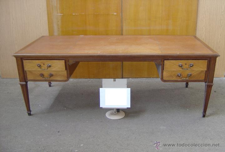 MESA DE DESPACHO CON TAPA PIEL MARRÓN (Antigüedades - Muebles Antiguos - Mesas de Despacho Antiguos)