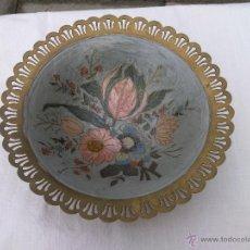 Antigüedades: FRUTERO O CENTRO DE MESA DE BRONCE ESMALTADO. Lote 41687696