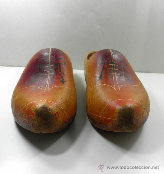Antigüedades: ANTIGUOS ZUECOS * ALMADREÑAS * MADREÑAS DE MADERA * gran tamaño 39cm - Foto 4 - 41692745