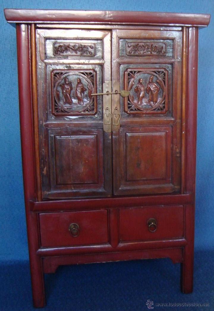 Antiguo armario asiatico tallado y lacado en ro comprar - Muebles antiguos madrid ...