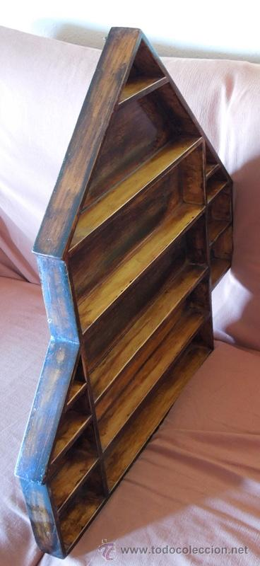 Antigüedades: Repisa o estantería, vitrina en madera reciclada - Foto 3 - 41716758