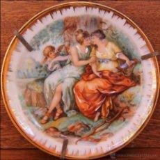 Antigüedades: ANTIGUO PLATO DE PORCELANA EN MINIATURA DE LIMOGES CON SELLO MARCA - ESCENA ROMANTICA. Lote 41747990
