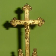 Antigüedades: CRUCIFIJO ANTIGUO DE BRONCE Y LATON S.XIX CALVARIO. Lote 41754922