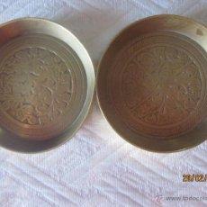 Antigüedades: PAR DE CENICEROS DE LATÓN MACIZO. Lote 41757316